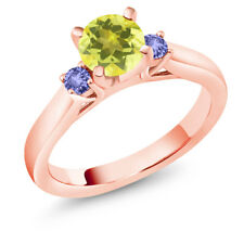 1.24 Ct Round Canary Mystic Topaz Blue Tanzanite 14K Rose Gold 3-Stone Ring