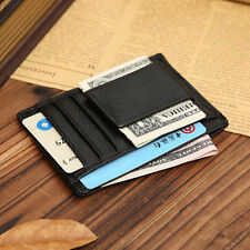NEW Man Leather Wallet Money Clip Credit Card ID Holder Front Pocket Thin Slim