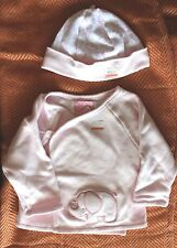 First Wish Baby Girl 2 Piece Pink Kimono&Cap w Front Elephant Applique 0-3 mos.
