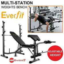 Home Gym Exercise Fitness Multi-Station Weight Bench Press AB Curl Adjustable