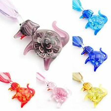 Dog Flower Murano Glass Lampwork Art Animals Handmade Pendant Ribbon Necklace