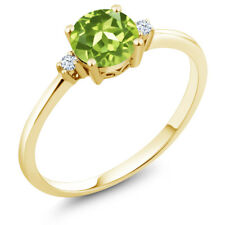 0.88 Ct Round Green Peridot White Created Sapphire 10K Yellow Gold Ring