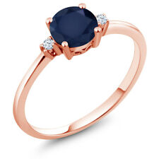 1.03 Ct Round Blue Sapphire White Created Sapphire 10K Rose Gold Ring
