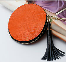 Women Genuine Leather Small Coin Pouch Round Zipper Key Purse/Wallet With Tassel