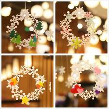 Christmas Snoflake Wreath Felt Adhesive Xmas Tree Decorations Hanging Ornaments