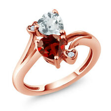 1.60 Ct Heart Shape Red Garnet Sky Blue Aquamarine 14K Rose Gold Ring