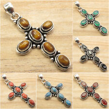 925 Silver Plated TIGER'S EYE & Other Gem Variation ETHNIC CROSS Pendant NEW