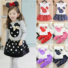 Kids Baby Girls Outfit Minnie Mouse Dress Tops Polka Dot Pants 2PCS Set Clothes