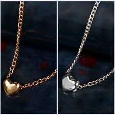 Women Fashion Lovely Gift Tiny Little Heart Love Gold Silver Pendant Necklace MA