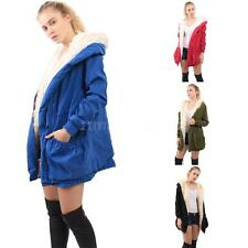 Womens Faux Fur Lined Winter Parka Jacket Hooded Winter Warm Coat Outerwear R2D8