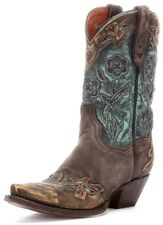 Dan Post Women's Vintage Bluebird 11 Western Leather Boots Chocolate Teal DP3544