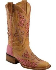Corral Ladies Square Toe Cowboy Western Boots Saddle Pink Wing Cross A2645