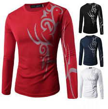 Tattoo New Print Long Sleeve T-Shirt Casual Mens Top Round Neck Slim Fit