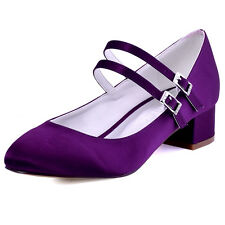 Purple Closed Toe Chunky Heel Mary Jane Pumps Straps Satin Evening Party Shoes