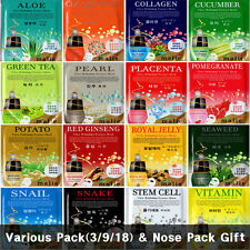 16 Type Various Pack Facial Ultra Essence Mask Sheet, Charcoal Nose Strip Free
