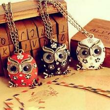 1Pcs Retro Pop Chain Charms Pendant Long Owl Crystal Sweater Rhinestone Necklace