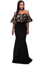 Sexy Black Gold Sequins Ruffle Strapless Long  Formal Party Dress Off Shoulder