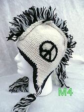 Hand Made PEACE Wool Nepal Peruvian Style Ski Mohawk Beanie Trooper Trapper Hat