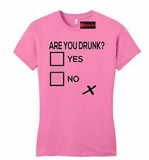 Are You Drunk Check Funny Juniors T Shirt Alcohol Beer Party Gift Bar Petite Tee