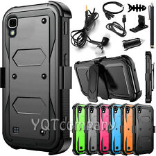Refined Armor Cover Phone Case & Swivel Belt Clip Holster For Lg X Power +Bundle