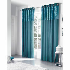 Diamond Check Velvet Eyelet Curtains - Faux Silk Ring Top Teal Curtain Pair