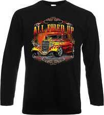 Longsleeve Shirt with US Car Hot Rod-&´50 Style Model All Fired Up