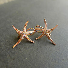 925 Sterling Silver Starfish shape Cubic Zirconia Clip Earring Top Quality