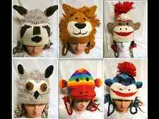 New Handmade Knit 100% Wool Unisex Animal Winter Nepal Hat Racoon  Lion Owl