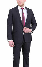 Kenneth Cole Reaction Slim Fit Black Pinstriped Two Button Suit