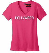 Hollyweed Funny Ladies V-Neck T Shirt News Hollywood Sign CA Stoner Weed Cali Z5