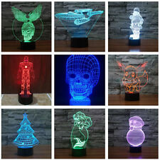 Halloween Skull Xmas USB 3D LED Night 7 Color Touch Switch Table Desk Light Lamp