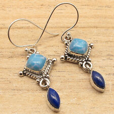 925 Silver Overlay Larimar & Lapis Lazuli & Other Gemstones Variation Earrings