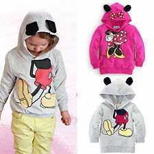 Baby Girls Boy Kids Mickey Minnie Pattern Hoodie Sweatshirt Coat Jacket Top 1-6T