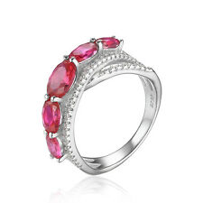 JewelryPalace Created 2.8ct Red Ruby Cross-Over  Ring 925 Sterling Silver New
