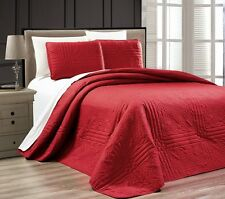 NEW Twin XL Full Queen Cal King Bed Burgundy 3 pc Coverlet Quilt Bedspread Set