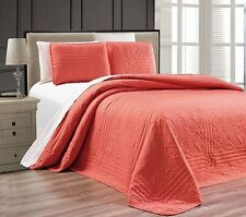 NEW Twin XL Full Queen Cal King Size Bed Coral 3 pc Coverlet Quilt Bedspread Set