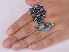 Long Peacock Stretch Ring Cute Animal Jewelry For Women Antique Gold Silver