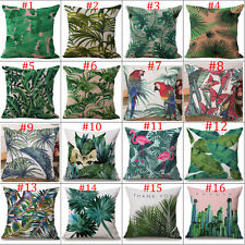 Sofa Square Cushion Cover Tropical Green plant leaves Pillow Case Cotton Linen