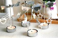 Rotary Spinning Carousel SILVER Tea Light Candle Holder Home Office Decor