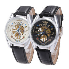 Fashion Luxury Mechanical Stainless Steel Sport Men's Wrist Watch Analog Leather