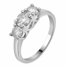 Ladies 14K White Gold 3 Stone Genuine Diamond Engagement Anniversary Ring 1.0Ct