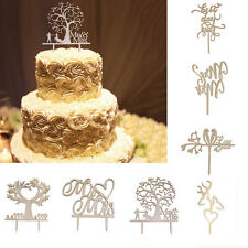 Cake Toppers Wedding Party Anniversary Birthday Favour Natural Wooden Decoration