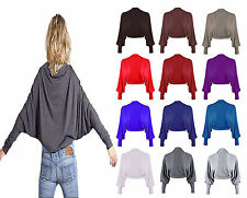 New Ladies Long Sleeves Batwing Shrug Womens Jersey Bolero Cardigan Top UK 8-26