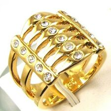 7,8,9# 6 LAYERS BONE STYLE REAL 18K YELLOW GOLD PLATED RING SOLID FILL GP GEP