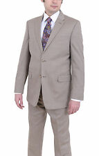 Tommy Hilfiger Trim Fit Tan Pindot Textured Two Button Wool Suit