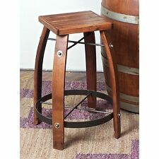 "28"" Brown Wine Barrel Bar Height Stool Wood Seat Home Dining Kitchen Furniture"