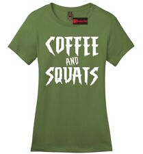 Coffee & Squats Funny Ladies Soft T Shirt Coffee Lover Workout Gym Tee Z4