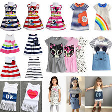 New Baby Girls Dresses Tulle Kids Toddle Clothes 0-6 Years Party Casual Beach AU