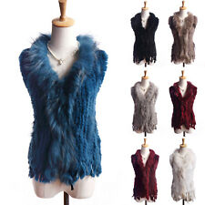 100% Real Rabbit Fur Vest Waistcoat Coat Fashion Women's small Gilet Classic