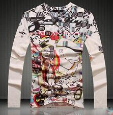 2016 NWT Men's Cotton Graphic Printed Just Cavalli Long Sleeves Head Tee shirt